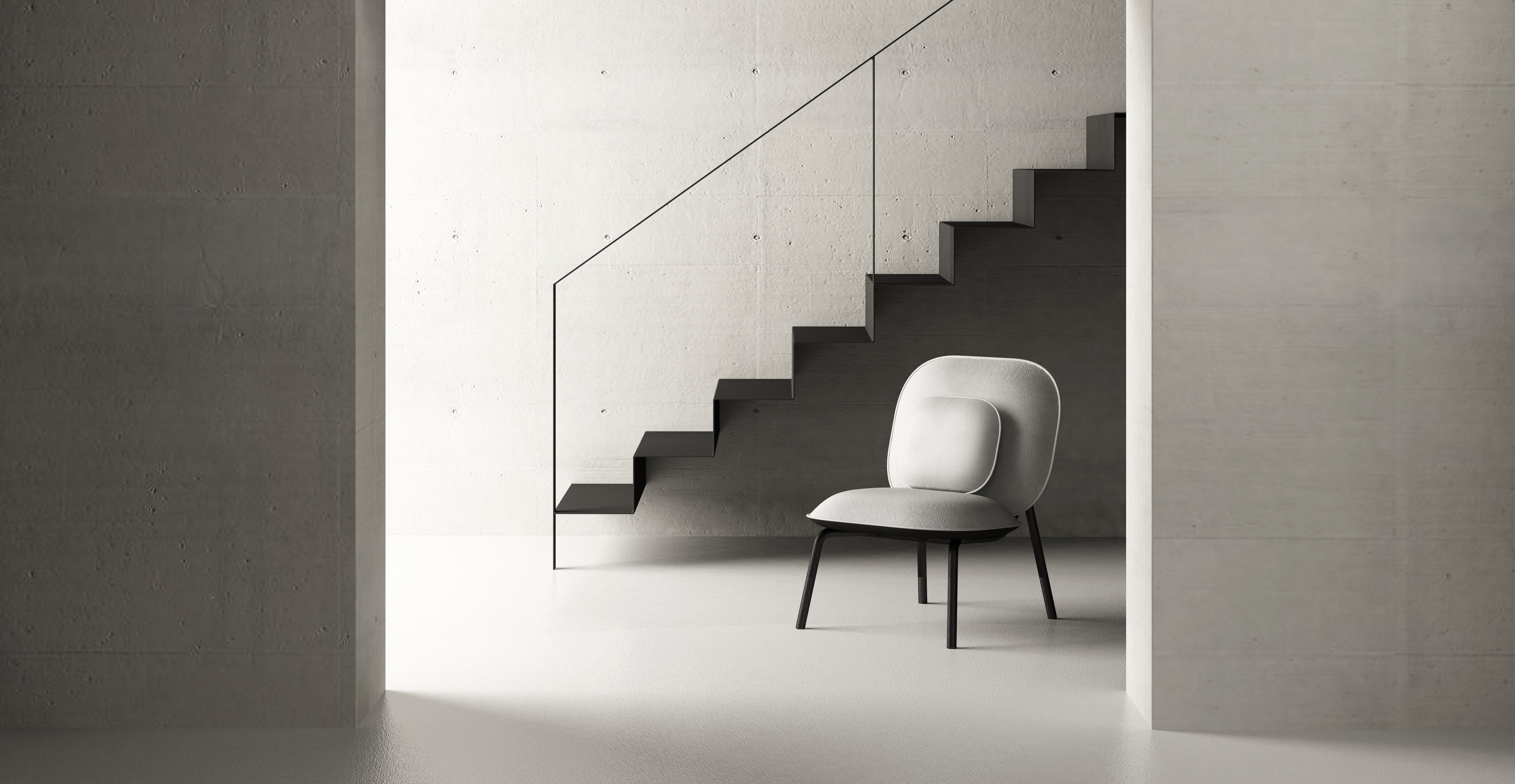 Tasca Lounge Chair by TOOU. Modern Minimal industrial Environment with Staircase.