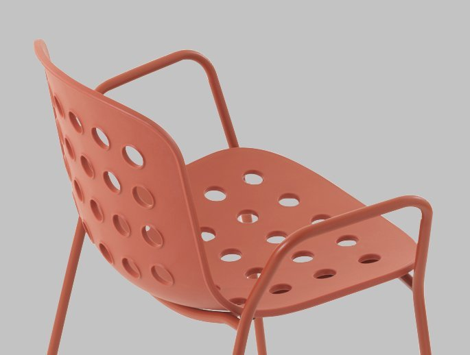 HOLI Red metal frame / plastic Chair for indoor and outdoor by TOOU