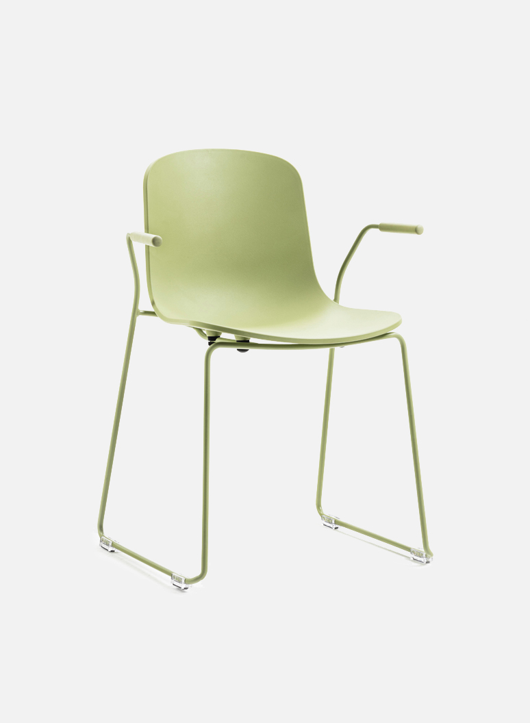 Holi Chair by TOOU | Holi sledge armchair closed Olive gray